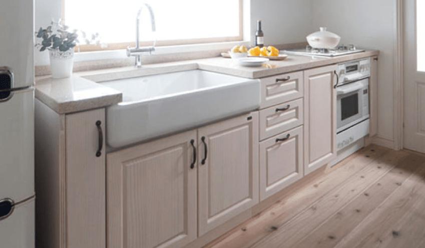 天然木製システムキッチン